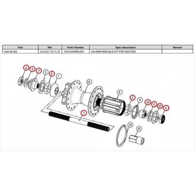 Giant Rear Hub Axle Service Kit for GDC-1520, 151A-AX4069-501