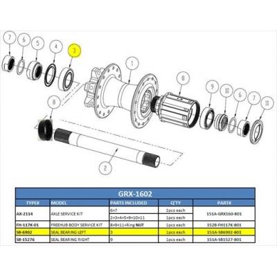 Giant PR-2 Disc (2017) Rear Wheel Bearing, 151A-SB6902-801