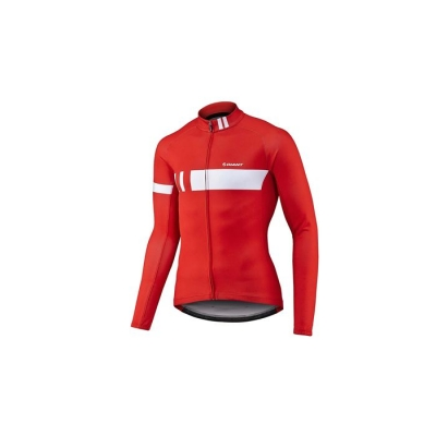 Giant Podium Thermal Long Sleeve Jersey, 2017, Red and White