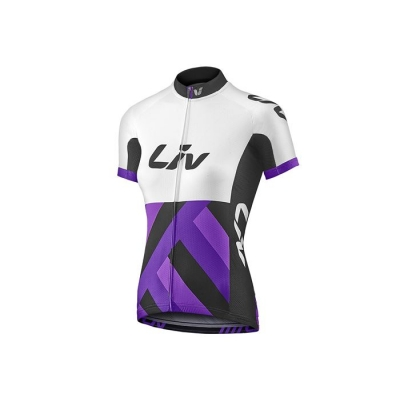 Liv Race Day Women's Short Sleeve Jersey, 2017, White and Purple