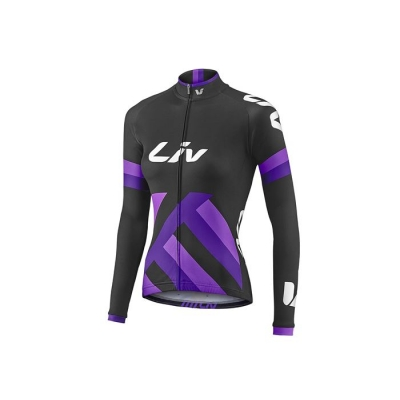 Liv Race Day Women's Long Sleeve Mid-Thermal Jersey, 2017, Black and Purple