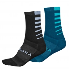 Endura CoolMax Stripe Socks (Twin Pack), Kingfisher Gr...