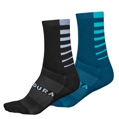 Endura CoolMax Stripe Socks (Twin Pack), Kingfisher Green