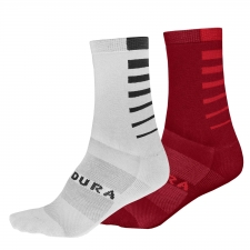 Endura CoolMax Stripe Socks (Twin Pack), Rust Red