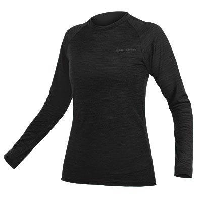 Endura Women's BaaBaa Blend Long Sleeve Baselayer, Black