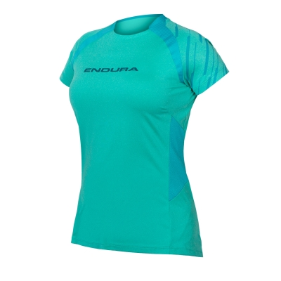 Endura Women's SingleTrack Short Sleeve Jersey, Pacific Blue