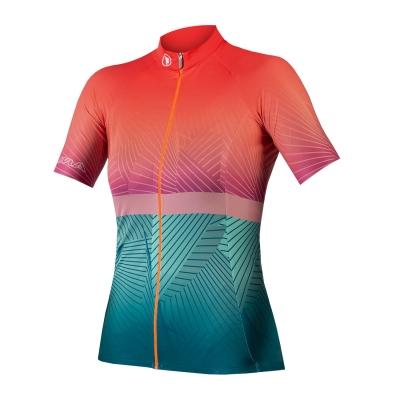 Endura Women's Lines Short Sleeve Jersey LTD, Hi-Viz Coral