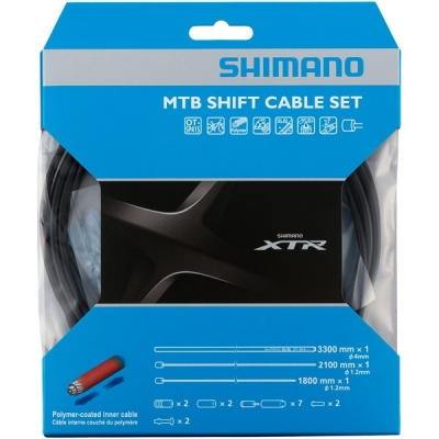 Shimano MTB XTR gear cable set with Polymer coated inner wire, black
