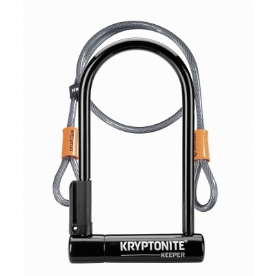Kryptonite Keeper 12 Standard D Lock With 4ft Flex cable and bracket (Sold Secure Silver)