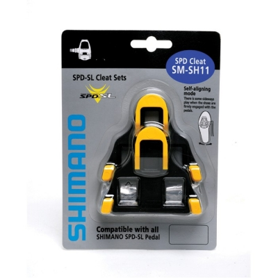 Shimano SH11 SPD-SL cleats, with 6 degrees of float (yellow)