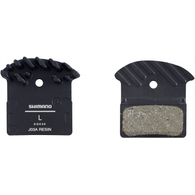 Shimano J03A disc brake pads and spring, alloy backed with cooling fins, resin