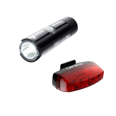Cateye Volt 100 XC Front Light and Rapid Micro USB Rechargable Rear Lightset