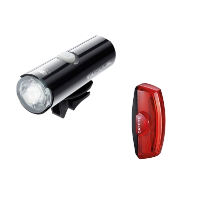 Cateye Volt 500 XC Front Light and Rapid X2 USB Rechargable Rear Lightset